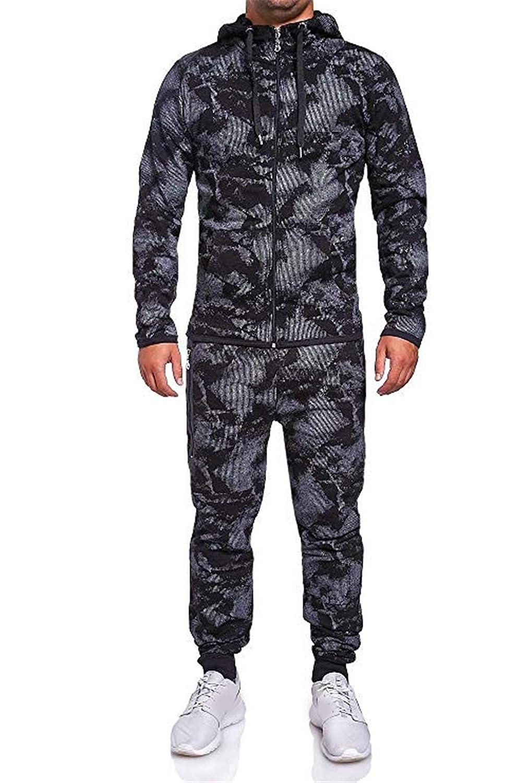 turuste Mens Camo Hooded Tracksuit Set Two Piece Jogging Full Zipper Sweatshirt Active Suit Set Fall Winter Sweatpants Set