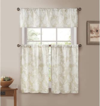 Country Curtains Kitchen Window Set: Ivory with White Floral Stitch Design