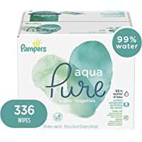 Baby Wipes, Pampers Aqua Pure Sensitive Water Baby Diaper Wipes, Hypoallergenic and Unscented, 6X Pop-Top Travel Packs, 336 Count