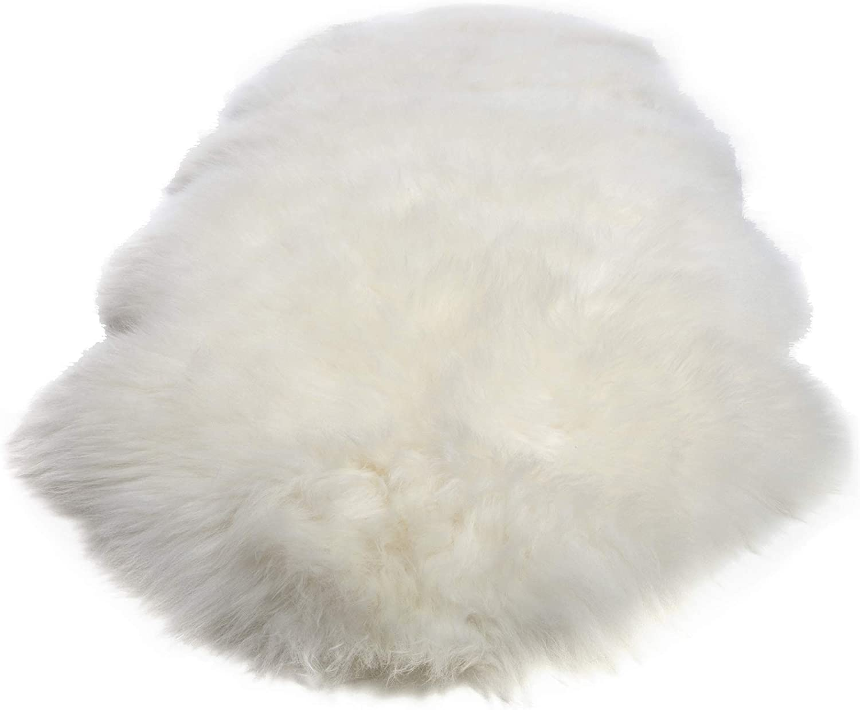 Double Pelt, New Zealand Premium Sheepskin, Ivory Rug, Thick Soft Luxurious Natural Wool, by Minidoka Sheepskin
