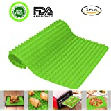Silicone Baking Mats, Portin Pyramid Pan Healthy Bakeware Nonstick Cooking Oven Mat Heat Resistant Pad Oven Liner, Use for Toaster Bacon Pie Pizza Bread Cookie Sheet, 1 Piece 16 X 11.5 Inches (Green)