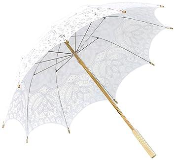Hecho a mano blanco de encaje sombrilla paraguas para boda novia 30, tamaño adulto