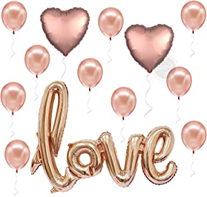 Love Balloons Decorations, Rose Gold – Large, Pack of 13   Beautiful Rose Gold Love Balloon for Valentines-Day Party Supplies, Heart Shaped Rose Gold and Latex Balloon kit   Wedding, Bridal Shower