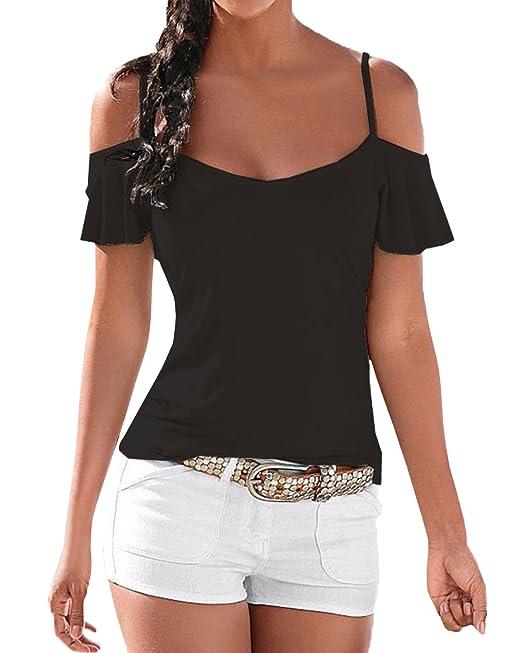 StyleDome Blusa Camiseta Casual Elegante Verano Playa Algodón Tirantes Mangas Cortas para Mujer Negro EU 38-40: Amazon.es: Ropa y accesorios
