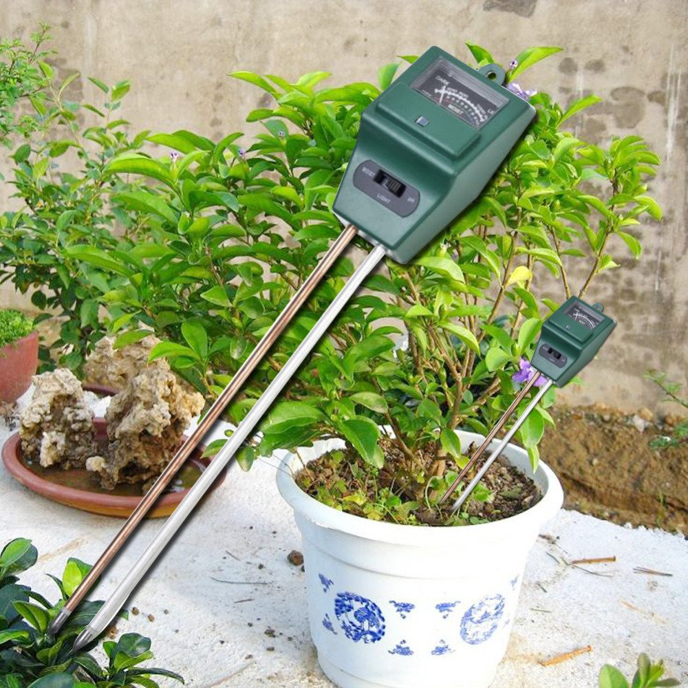Soil Moisture Meter, 3-in-1 Plant Moisture Sensor Meter/Light/pH Tester Tool for Houseplants, Outdoor Plants, Bonsais, Succulents, Trees, Grass and Lawn, Promote Plants Healthy Growth (Square Head)