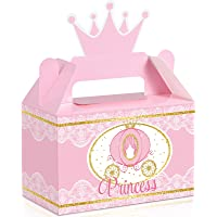 12 Pieces Little Princess Party Box Princess Crown Treat Box Princess Theme Party Supplies Pink and Gold Candy Party…
