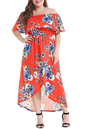 Roseinthebox Plus Size Off Shoulder Ruffle High Low Floral Maxi Dress for  Women Casual Summer