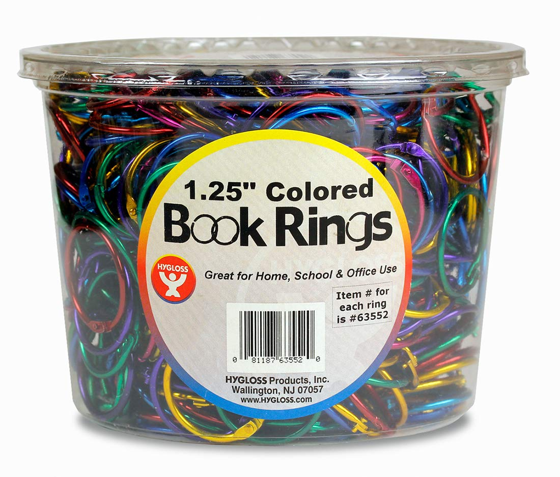 Hygloss Products Book Rings – 1-1/4 Inch Assorted Colored Steel Binder Rings, 500 Pack in Counter Display Bucket