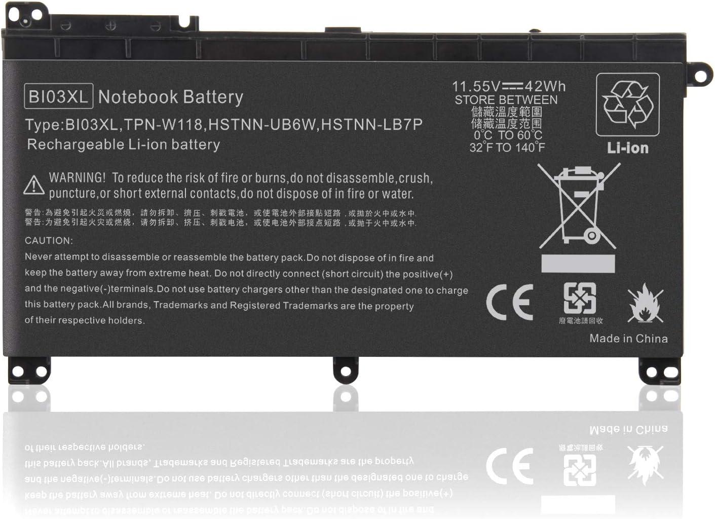 BI03XL Laptop Battery Compatible with HP Pavilion X360 13-U M3-U 13-u000 M3-U001DX M3-U103DX 13-U100TU 13-U118TU Stream 14-AX 14-ax010wm 14-ax010nr ON03XL 0N03XL 844203-855