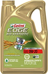 Castrol 03585 EDGE Bio-Synthetic 0W-20 Advanced Full Synthetic Motor Oil, 5 quart, 1 Pack