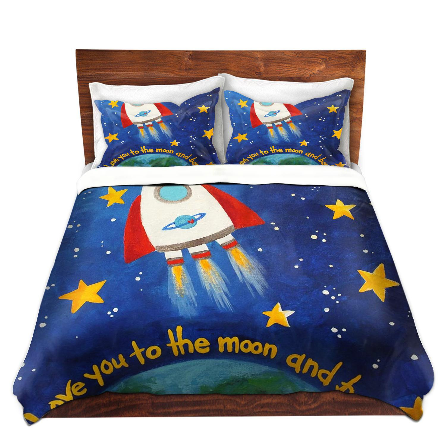 DiaNoche Designs Nicola Joyner Njoy Art Unique Home Decor Bedding Ideas Love You to the Moon Rocket Cover, 7 Queen Duvet Sham Set by DiaNoche Designs (Image #1)
