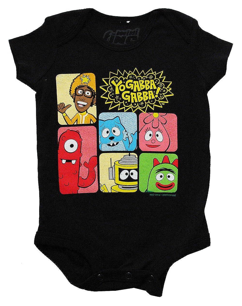 Mini Fine Yo Gabba Gabba Group Shot Cartoon Baby Creeper Romper Snapsuit Black
