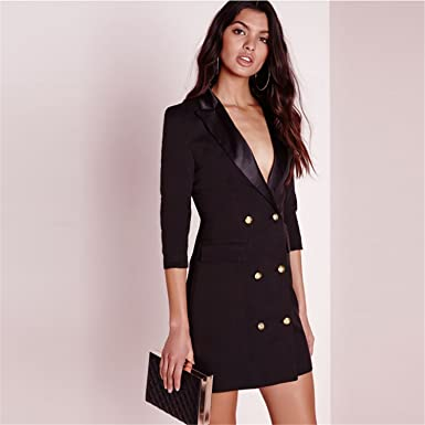 Sexy Brief Women Blazer Dress Autumn Double Breasted Chic Female Dress Office Basic Vestidos at Amazon Womens Clothing store: