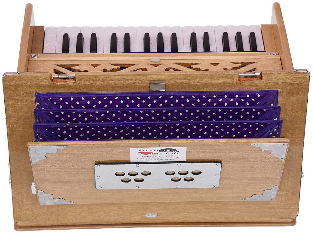 Safri Harmonium- 2¾ Octave By Kaayna Musicals-Portable, Traveler, Baja, 4 Stops (2 Drone), Two Set Reed- Bass/Male, Teak Color, Gig Bag, Tuning: 440 Hz, Suitable for Yoga, Bhajan, Kirtan, Mantra, etc by Kaayna Musicals (Image #4)