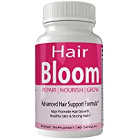 Hair Bloom Hair Growth Pills Skin and Nails Supplement - Advanced Unique Hair Growth Vitamins and Minerals with Biotin - Gluten Free 60 Capsules