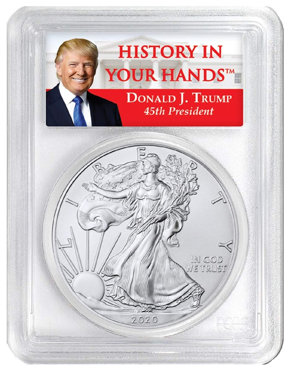 2019 1oz Silver Eagle PCGS MS69 Donald Trump Label 2 Pack