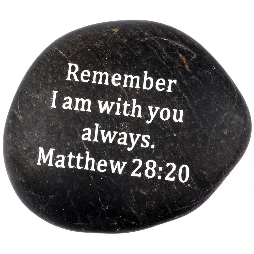 Engraved Inspirational Scripture Biblical Black Stones collection - Stone I : Matthew 28:20 : '' Remember I am with you always. '' by Holy Land Market (Image #1)