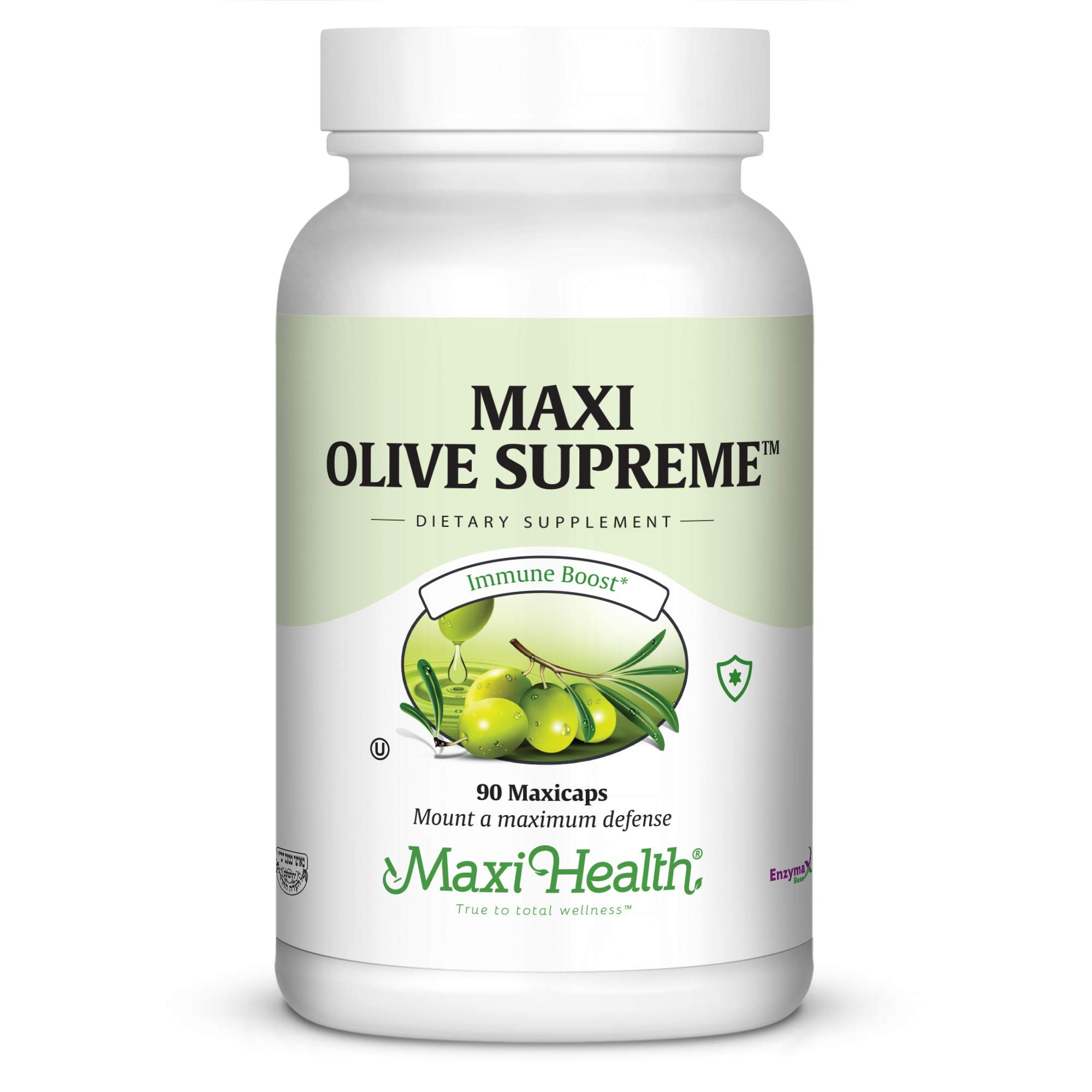 Maxi Health Olive Supreme - Olive Leaf Extract Supplement- Immune Booster - 90 Capsules - Kosher