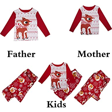 f671e852d5 Christmas Family Pajamas Set Kid Mom Dad Parent-Child Matching Outfits  Clothes (Medium