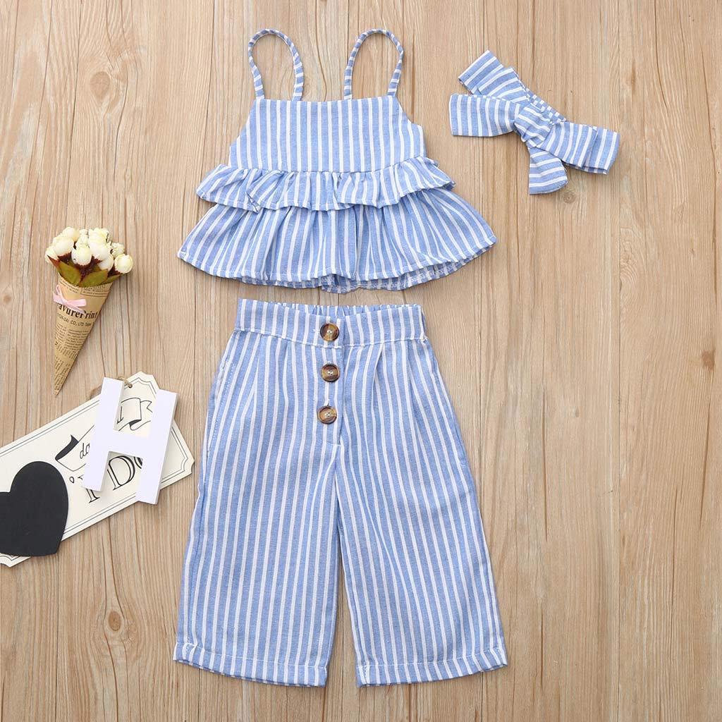 Womola Baby Girl Clothes 2pcs Outfits Ruffled Sleeveless Halter Striped Tank Top+Shorts Set Headband Outfit Set