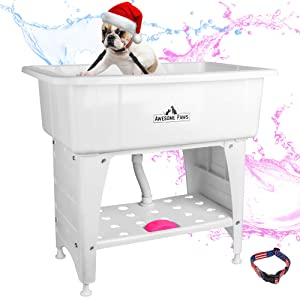 AWESOME PAWS Portable Dog Bathing Station | Booster Bath for Dogs | Dog Stuff Includes - Tub Shampoo Brush, Dog Wash Station & Dog Grooming Table Accessories Double Safety Lanyard & Dog Bathtub Collar
