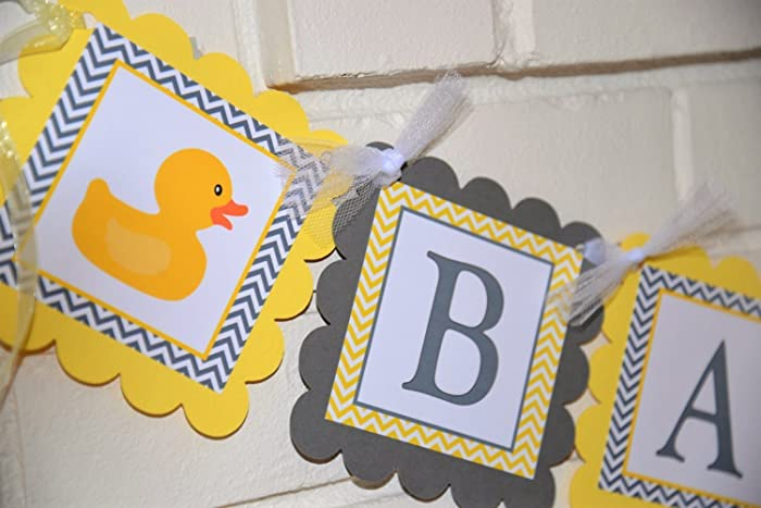 Amazoncom Yellow And Gray Rubber Ducky Baby Shower Banner