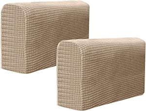 BESPORTBLE Chair Arm Protectors Sofa Armrest Cover Stretch Armchair Slipcover Protector Elastic Home Office Recliner Couch Loveseat Protective Cloth 2pcs (Light Brown)