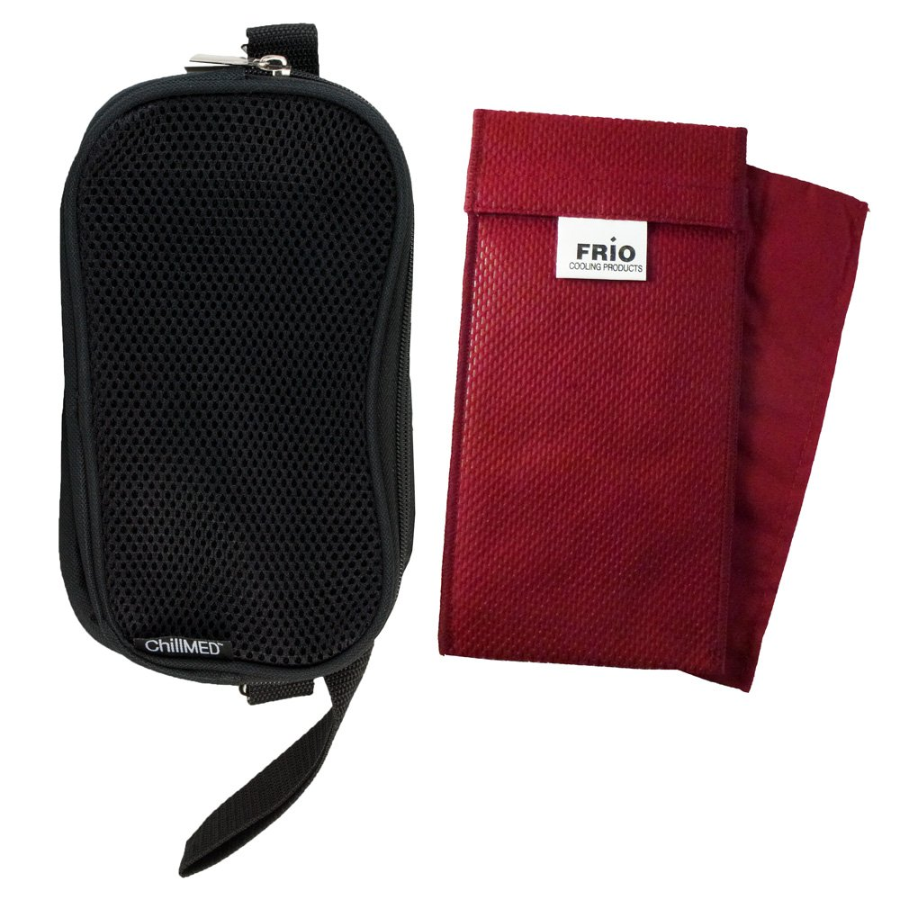 ChillMed - Soft Sided Travel Case with Air Flow Pocket for Your Cooling Wallets Holds Your Poucho's and Frios Individuals and Duo Pens (Burgundy Duo Frio)