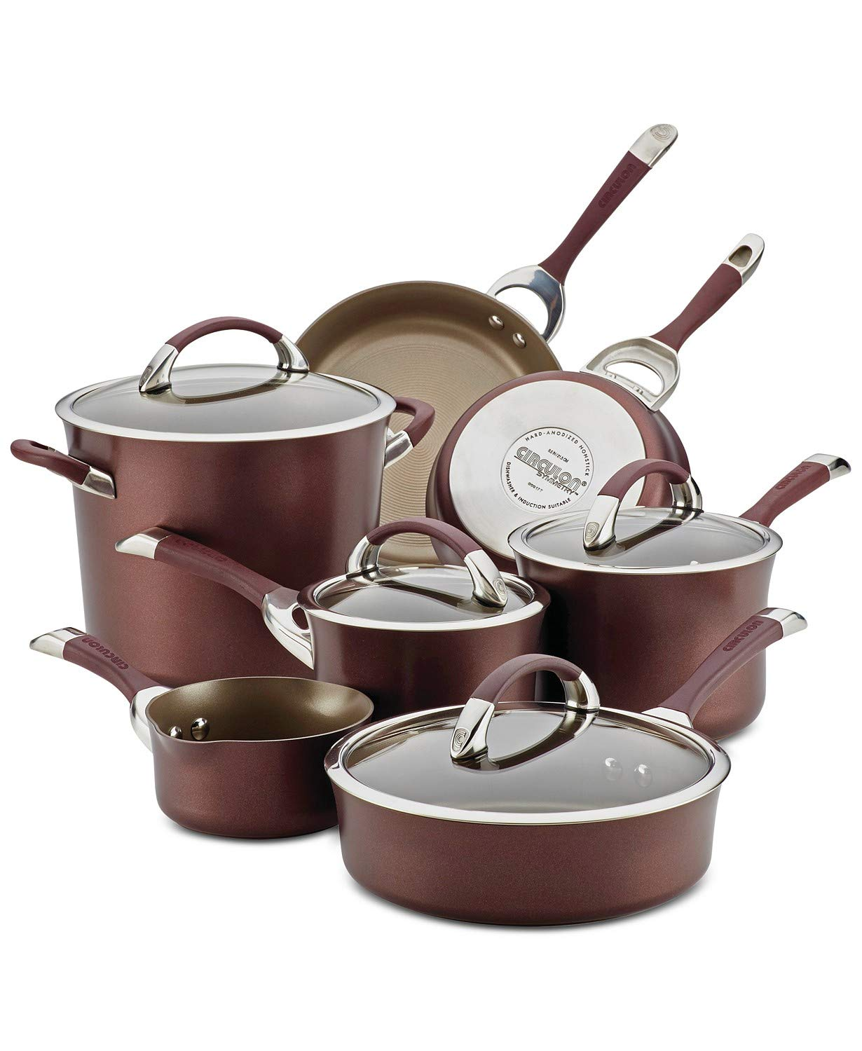 Circulon Symmetry Hard-Anodized Nonstick 11-Piece Cookware Set (Merlot)