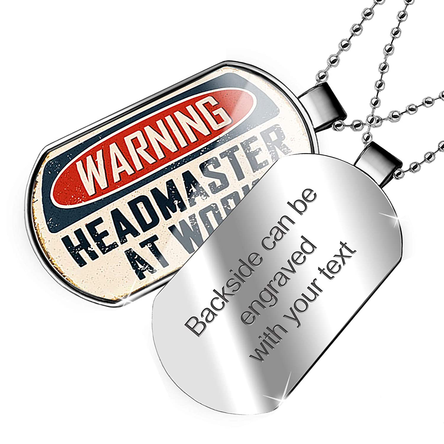 NEONBLOND Personalized Name Engraved Warning Headmaster at Work Vintage Fun Job Sign Dogtag Necklace