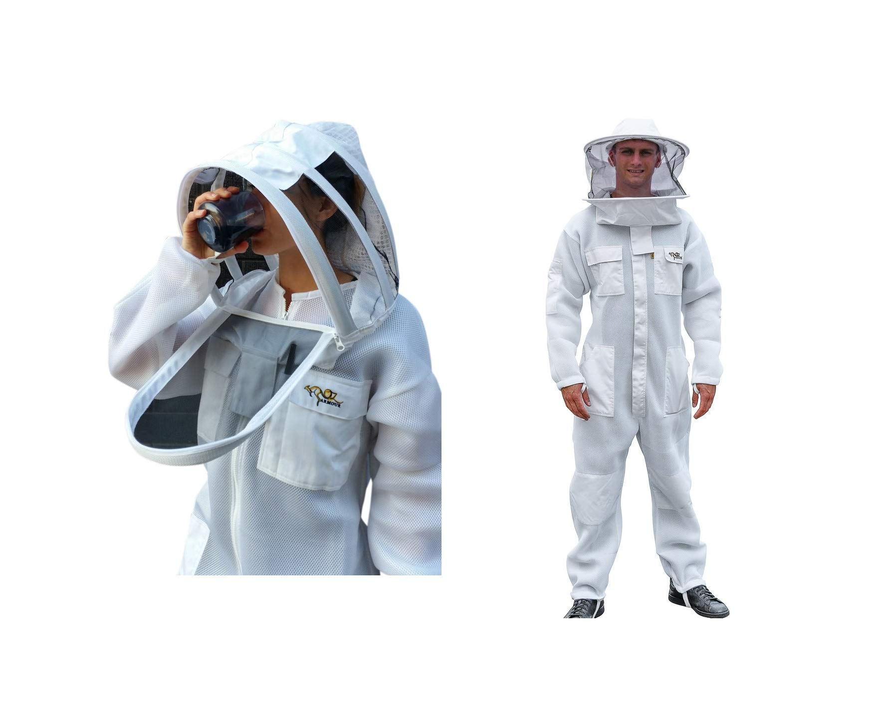 OZ ARMOUR Beekeeping Suit Ventilated Air Mesh with Fencing & Round Brim Hat (XL) by OZ ARMOUR