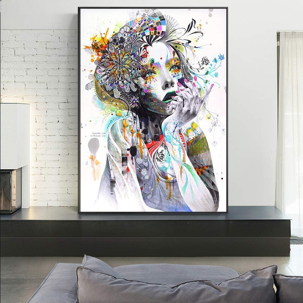 YHZSML Chica con Flores Impresiones en Lienzo abstractas Chica con Mariposa Carteles de Pared Modernos Imágenes de Arte Pop para imágenes de Sala de Estar 60x90cm