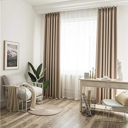BigTown Linen Blackout Curtains 2 Panels Room Darkening Window Drapes for  Living Room Bedroom, Modern Hotel Solid Grommet Curtain Drapes (Beige, 100\