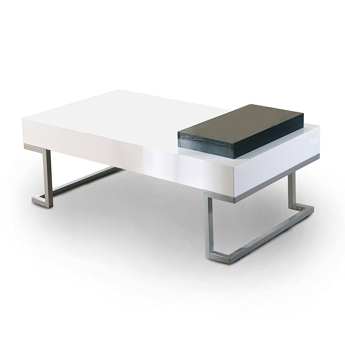 ioHOMES Verona Rectangular Coffee Table and Serving Block, Glossy White
