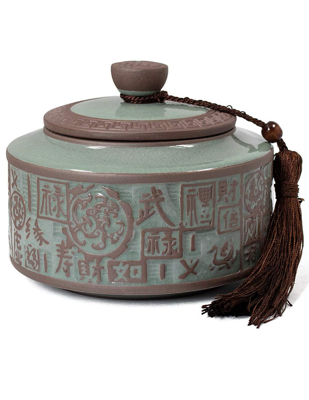 Dahlia Embossed Five Blessings Celadon Porcelain Loose Tea Tin/Tea Storage/Tea Caddy/Tea Canister by Dahlia