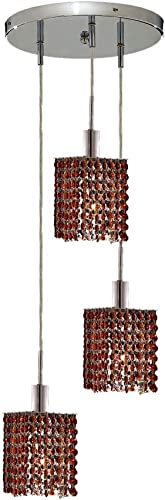 Elegant Lighting 1283D-R-S-TO RC Mini 8-Inch High 3-Light Chandelier, Chrome Finish with Topaz Brown Royal Cut RC Crystal
