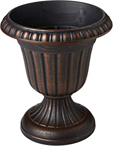 Arcadia Garden Products PL00CP Classic Traditional Plastic Urn Planter Indoor/Outdoor, 16 x 18 inches, Brushed Copper