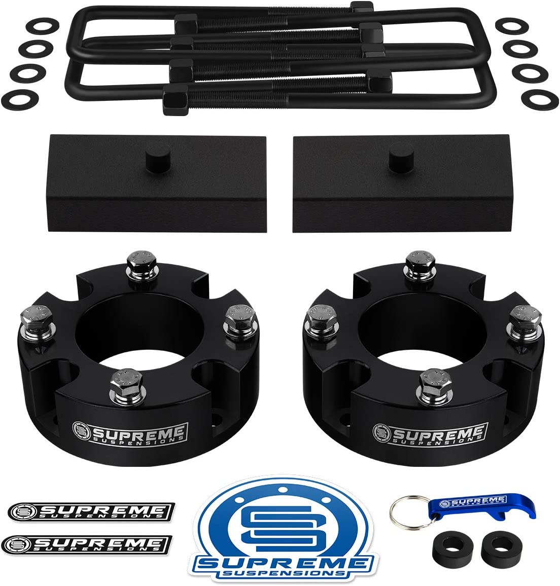 Supreme Suspensions Silver Front Leveling Kit for 2007-2021 Toyota Tundra and 2007-2021 Toyota Sequoia 3 Front Lift Strut Spacers 2WD 4WD