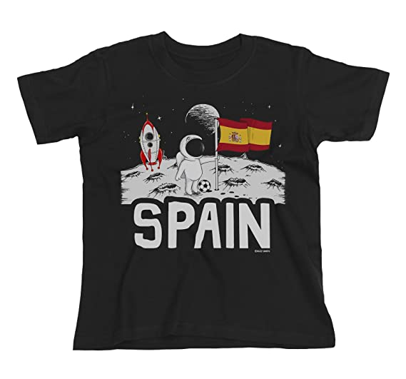 Buzz Shirts Kids Spain Espana Camiseta Moon Flag Copa Mundial 2018 Fútbol Chicos Chicas Childrens: Amazon.es: Ropa y accesorios