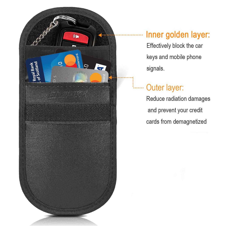 Faraday Bag for Car Keyless Entry Fob Antitheft Protection Signal Blocking Case RFID//WIFI//GSM//LTE//NFC Blocker AMWOKE Car Key Signal Blocker Pouch 2 Card Signal Blocker 2 Pack
