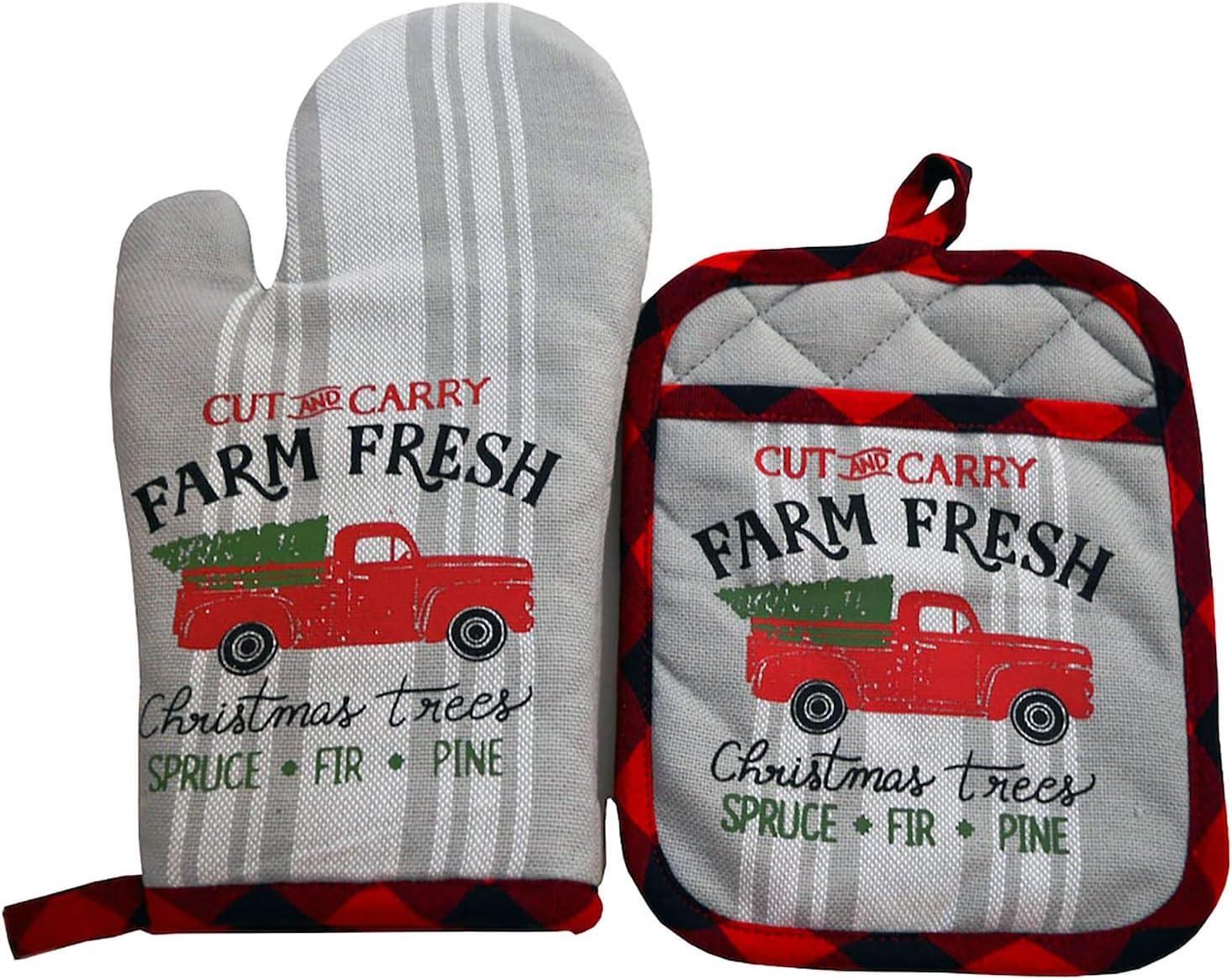 Retro Christmas Tree Farm Oven Mitt & Pot Holder Set