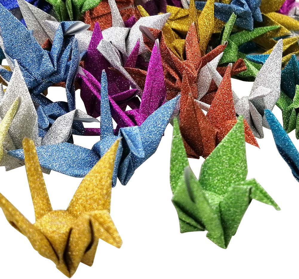 Loisirs Creatifs Hangnuo 50 Pcs Paillettes Papier Grues Origami Guirlande Ornement Fait A La Main Diy Avec Fils De Soie Invisible Pour Fond De Fete De Mariage Decoration De La Maison Dore Glitter