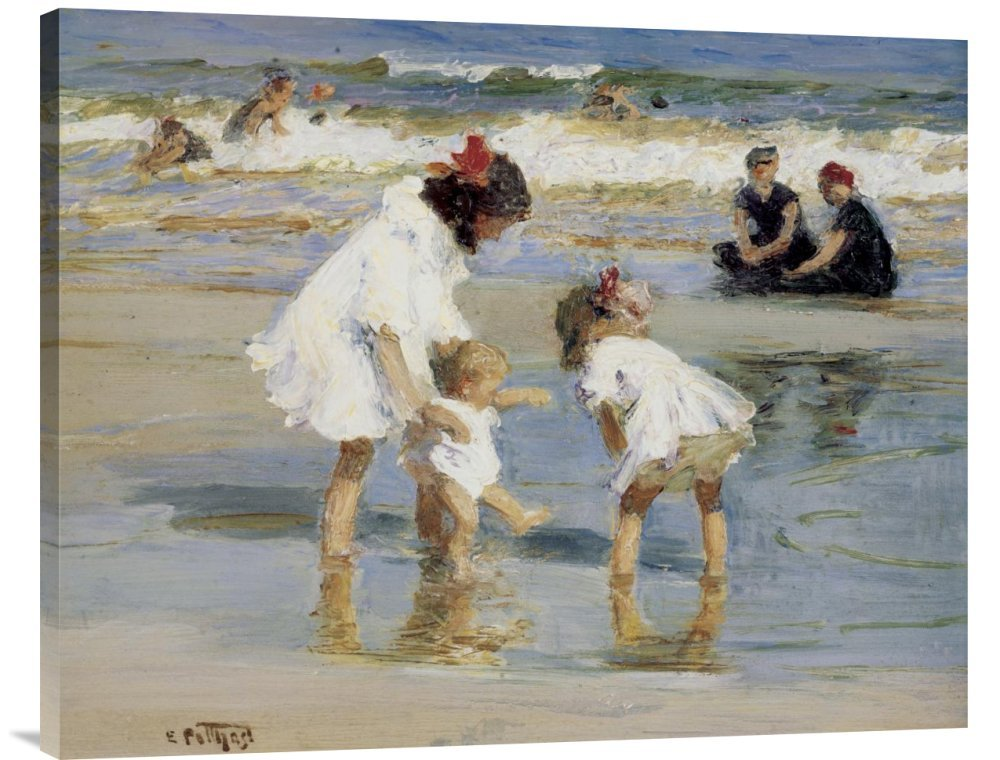 Global Gallery GCS-117328-2835-142 ''Edward Henry Potthast Children Playing at The Seashore Gallery'' Wrap Giclee on Canvas Print Wall Art