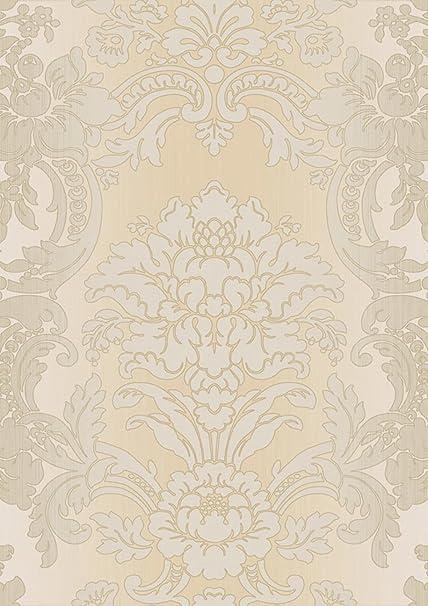 Damask Wallpaper Light Beige Tone On With Shade Texture Linen Effect Mirtilla 5042