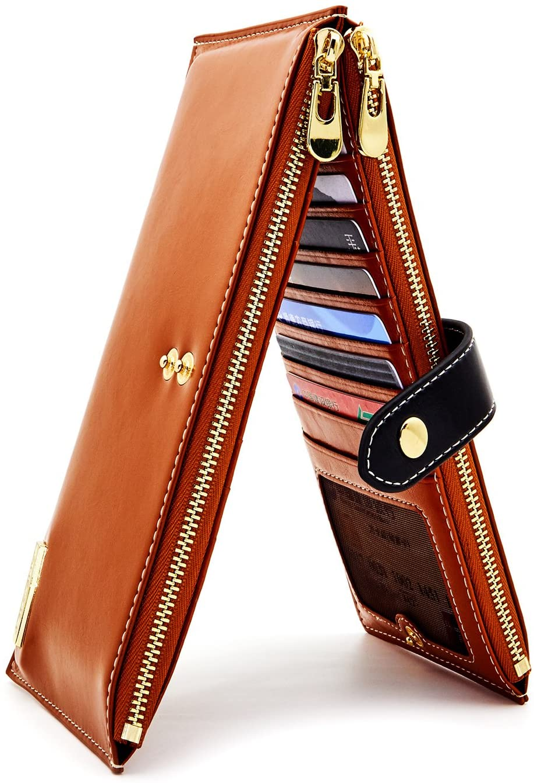 ANDOILT Mujer Cuero Genuino Billetera RFID Bloqueo Tarjeta de Crédito Poseedor Cremallera Carteras Teléfono Celular Bolsa Marrón