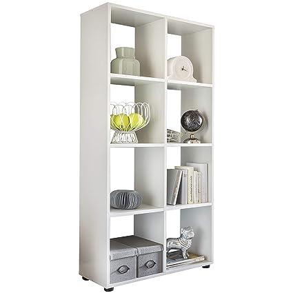 Wohnling Diseño Estante Zara con 8 Compartimentos Color Blanco 70 x 142 x 29 cm |