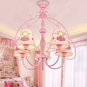 Hervorragend Decken Pendelleuchte Kronleuchter, 5 Licht Kopf E27 Lichtquelle Rosa  Malerei Tuch Schatten Prinzessin Pendelleuchten Für