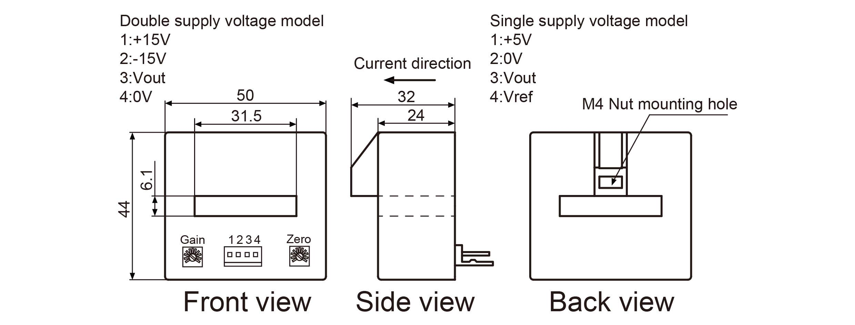 YHDC Hall Open Loop Current Sensor HK3106 400A/4V 1%