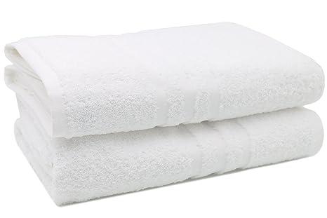 ZOLLNER 2 Toallas de baño Grandes Blancas, 100x150 cm