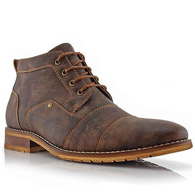 c76e1d48c845 Ferro Aldo Blaine MFA806035 Mens Casual Brogue Mid-Top Lace-Up and Zipper  Boots